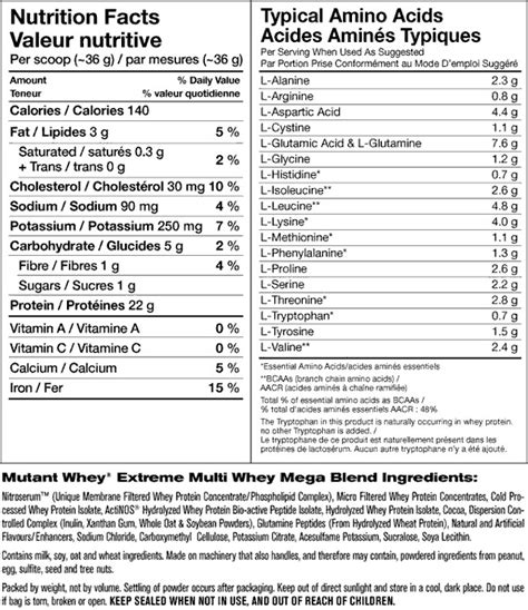 protein 7 synthesis nutrition facts mutant whey 5lb or 10lb