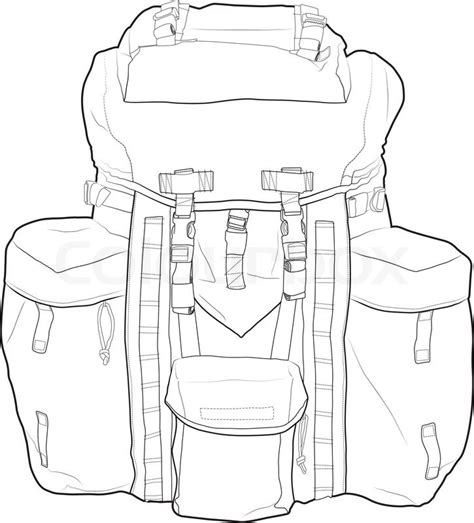 Military Backpack Outline Vector Drawing Very Detailed Fully Editable Stock Vector Colourbox Backpack Design Template