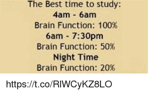 what is the best for me the best time to study 4am 6am brain function 100 6am 730pm brain function 50