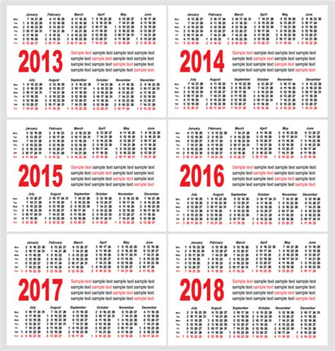 5 Year Calendar 2014 To 2018 2016 2018 Calendars Calendar Template 2016