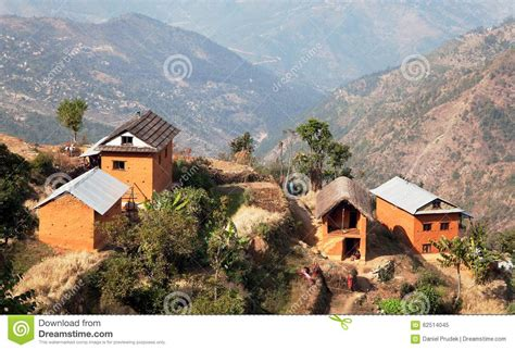 Stone Cottage House Plans typical beautiful village in nepal stock photo image