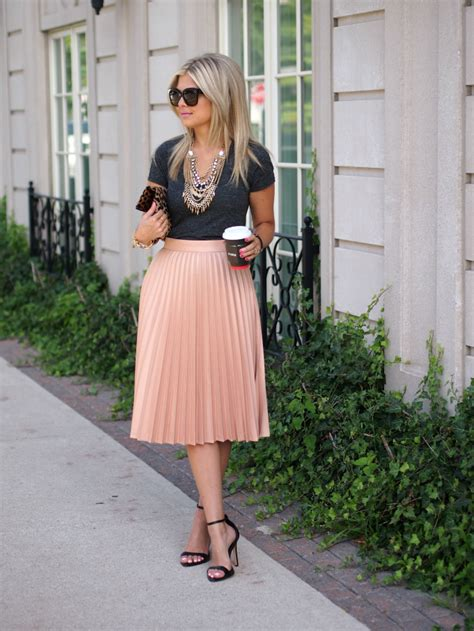 Shirt Pleated Skirt 22 ways to wear a midi skirt