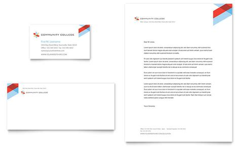 College Letterhead Design Community College Business Card Letterhead Template Design