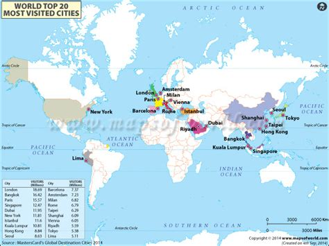 world map cities visited top 20 most visited cities in the world