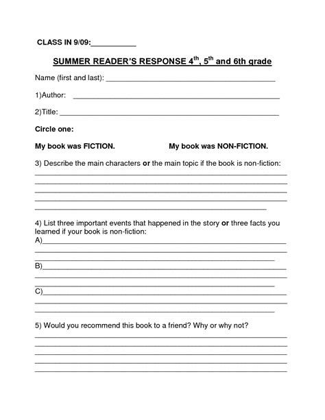sixth grade book report book report template summer book report 4th 6th grade