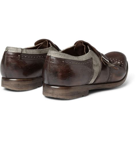 oxford loafers for church s brown leather and canvas shanghai distressed