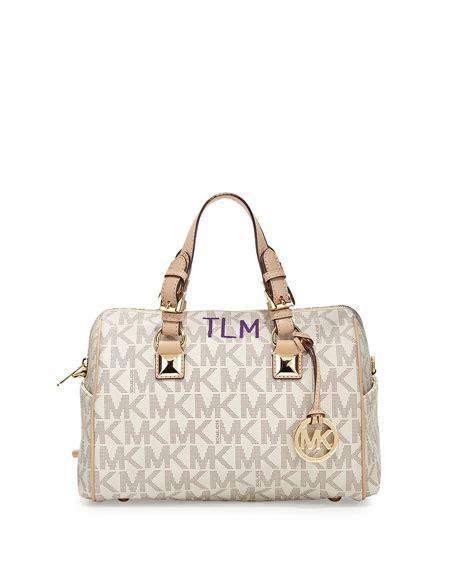 Grysons New Shoulder Bag Version Of The Beautiful Handbag by Michael Michael Kors Medium Grayson Logo Monogram Satchel