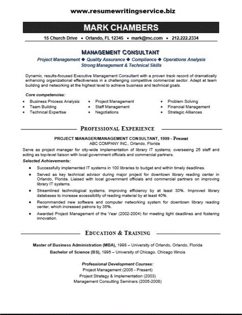 Resume Format Management Consulting Management Consultant Resume Sle Resume Writing Service