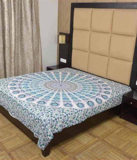 bed sheet fabric shine fabric blue and white traditional cotton double bed