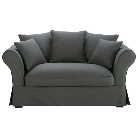 slate grey couch 2 3 seater cotton sofa in slate grey roma maisons du monde