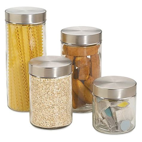 bed bath and beyond canister sets home basics 4 piece glass canister set with stainless