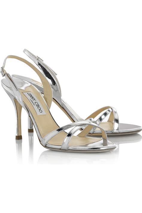 jimmy choo silver sandals jimmy choo india mirrored leather sandals in metallic lyst