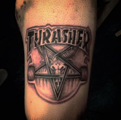 thrasher tattoo thrasher leg gnarly ink logos ink