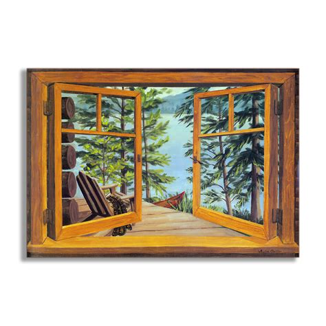 faux window painting stupell industries cabin and lake faux window