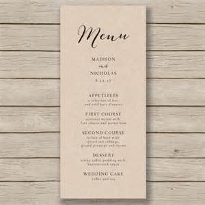 Drop Menu Templates Free by Wedding Menu Template Rustic Wedding Menu By