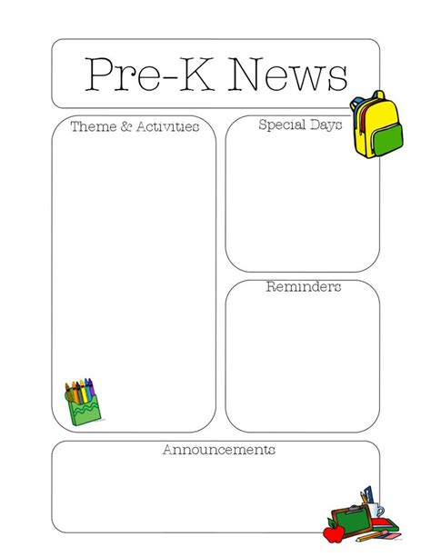 kindergarten weekly newsletter template 16 best preschool newsletter images on