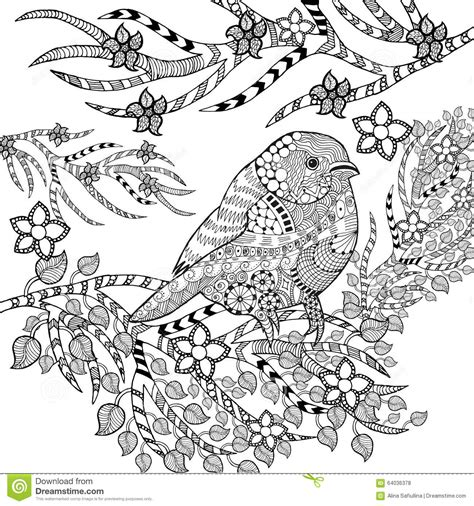 zentangle stylized tropical bird in flower garden stock