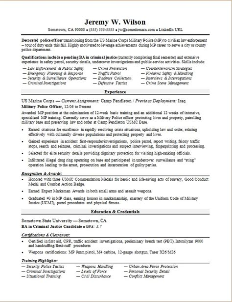 officer to civilian resume sle
