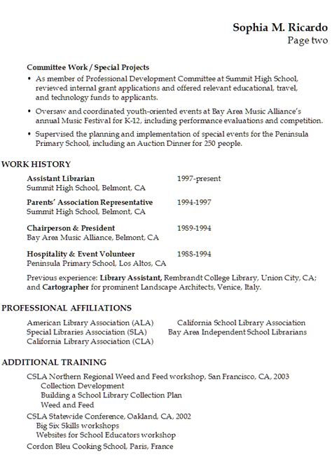 High School Librarian Resume by Functional Resume Exle Librarian In An Academic Setting