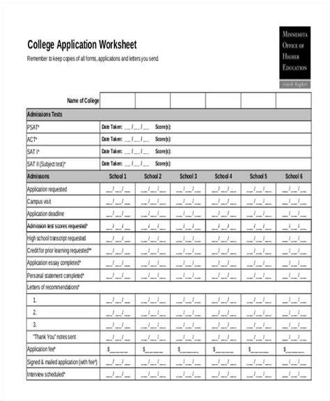 Application Practice Worksheets by College Application Worksheet Wiildcreative