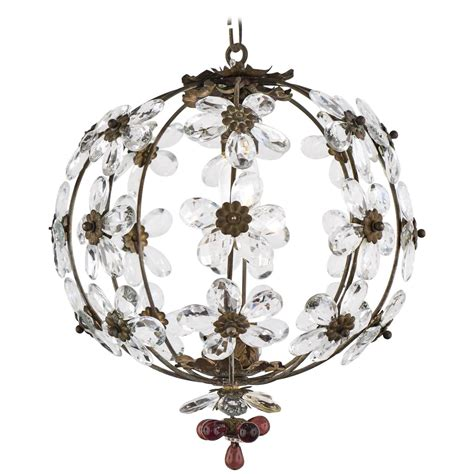 Vintage French Crystal Flowers Brass Chandelier Jean Vintage Flower Chandelier