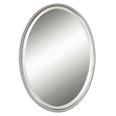 metal oval wall mirror brushed nickel bathroom uttermost sherise beaded metal oval wall mirror in brushed