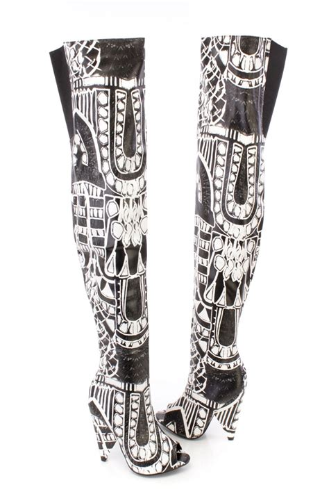 black and white patterned heels black white two tone peep toe graphic print thigh high