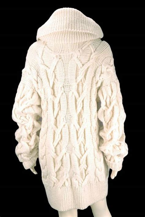 cable knit sweater coat vintage chunky beige knit cable coat sweater ebay