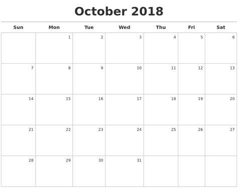 printable calendar 2018 october july 2018 monthly calendar template