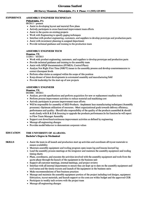 Assembly Resume by Exelent Assembly Position Resume Sle Vignette Exle