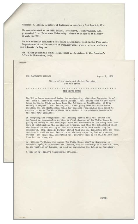 white house press release lot detail jackie kennedy white house press release announcing the resignation of