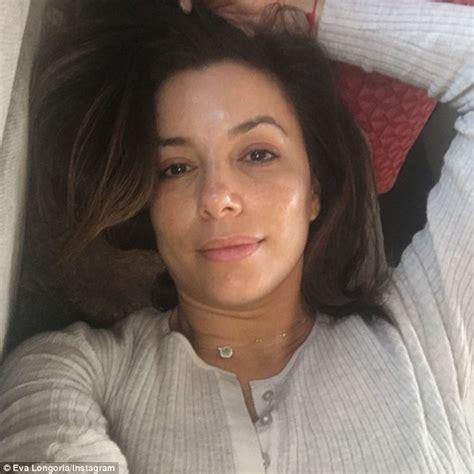 eva longoria goes without make up in morning selfie