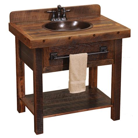 Open Bathroom Vanity Barnwood Open Vanity With Towel Bar