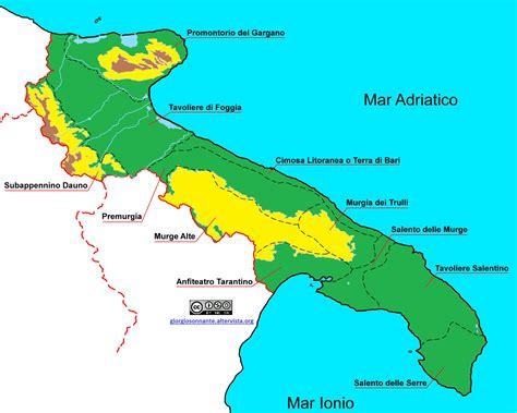 tavoliere delle puglie cartina le subregioni della puglia geografia fisica