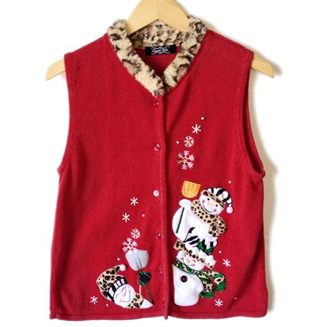 printable ugly christmas sweater leopard print trim snowman ugly christmas sweater vest