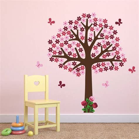pink tree wall sticker pink flower tree wall sticker by mirrorin