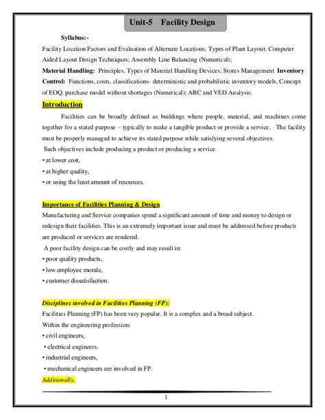 design for manufacturing notes industrial engineering unit 5 facility design notes by