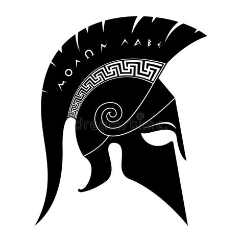 spartan helmet molon labe stock vector illustration of
