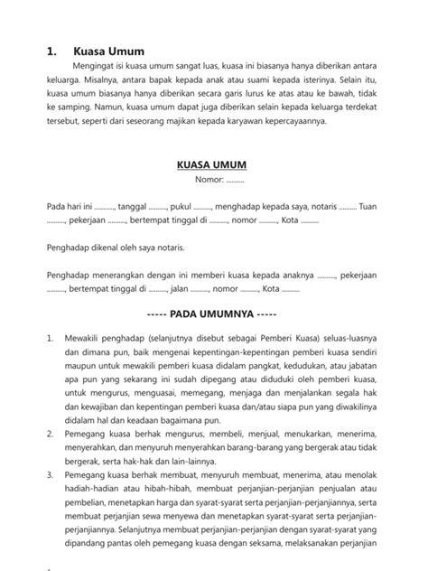 draft contoh surat kuasa
