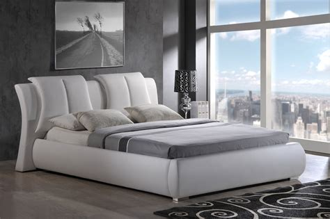 Upholstered Bed Deals White Pu King Bed W Upholstered Headboard Bedrooms The