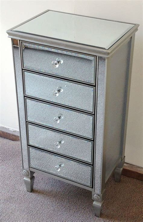 Antique Mirrored Chest Of Drawers by Antique Silver Venetian Mirrored Glass Boy 5 Drawer Chest Of Drawers Ebay