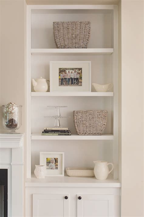 how to decorate built in shelves accessorizing bookshelves cute co