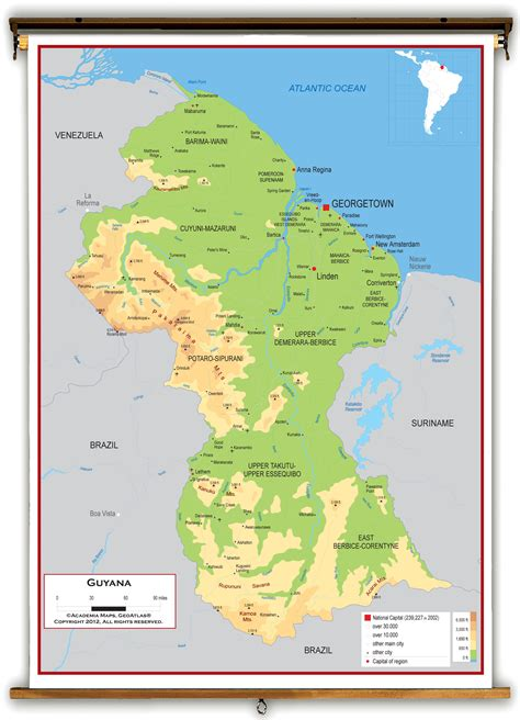 5 themes of geography guyana guyana physical educational wall map from academia maps