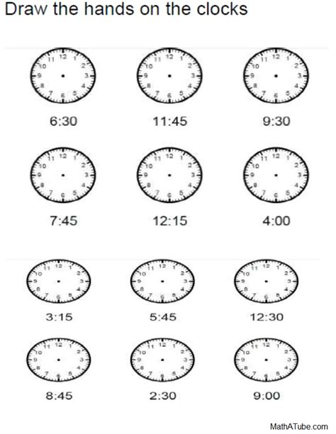 clock worksheets on the hour free telling time worksheets missing hands time clock