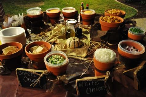 chili toppings bar chili bar line pots with burlap chili bar pinterest