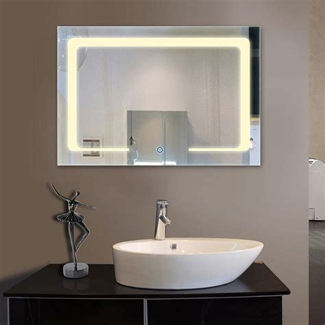horizontal bathroom mirrors 36 x 28 in horizontal led bathroom silvered mirror with touch button dk od cl129