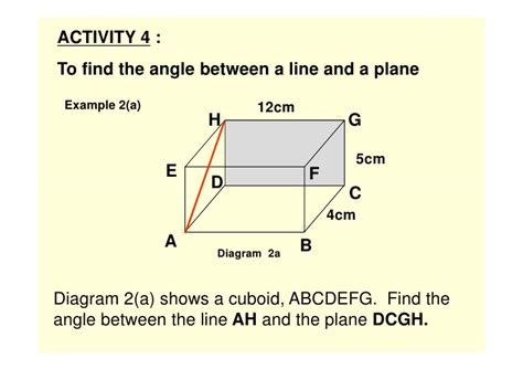name the line and plane shown in the diagram line plane in 3 dimension