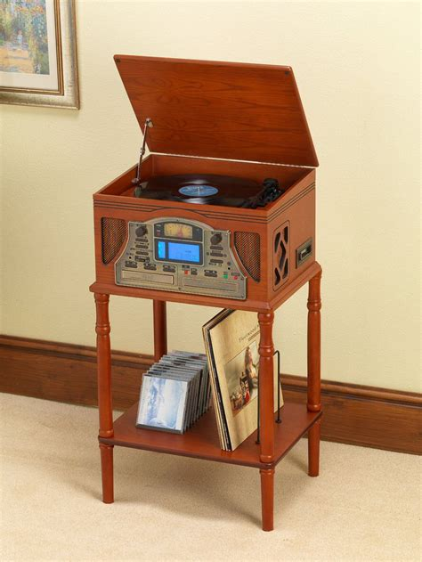 Record Player Tables by Table Stand For The Steepletone Lancaster Light Wood