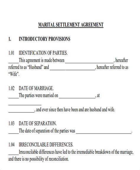10 Sle Divorce Agreements Sle Templates Divorce Settlement Agreement Template