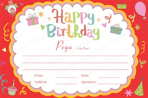 editable gift card template 25 birthday certificate template free sle exle